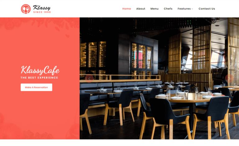 Klassy Cafe – Free Bootstrap 4 HTML5 Responsive Restaurant Website Template