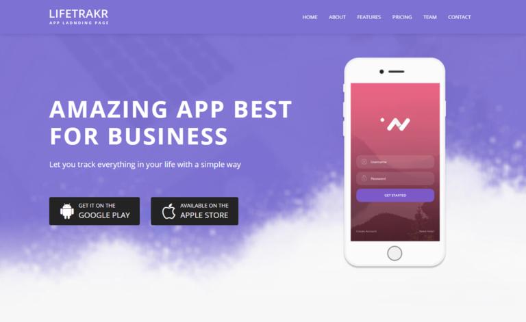 Lifetrakr – Free Bootstrap 4 HTML5 Multipurpose Landing Page Template