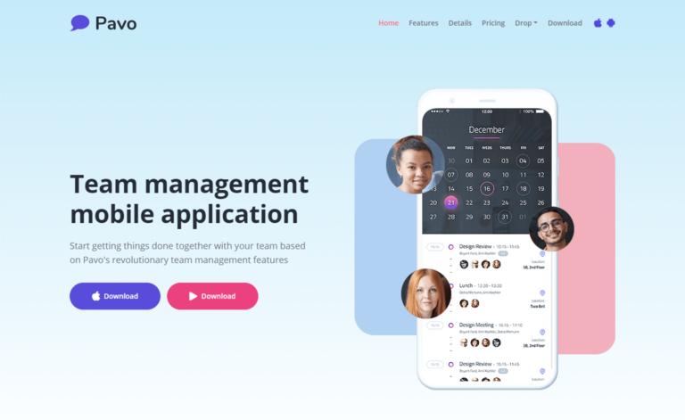 Pavo – Free Tailwind CSS HTML5 Multipurpose Landing Page Template