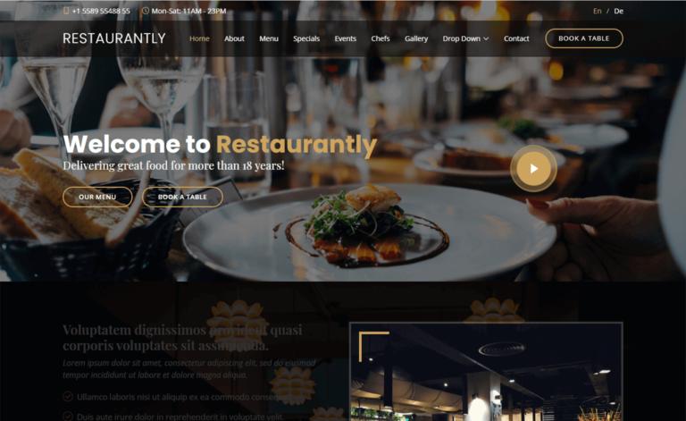Restaurantly – Free Bootstrap 5 HTML5 Responsive Restaurant Website Template