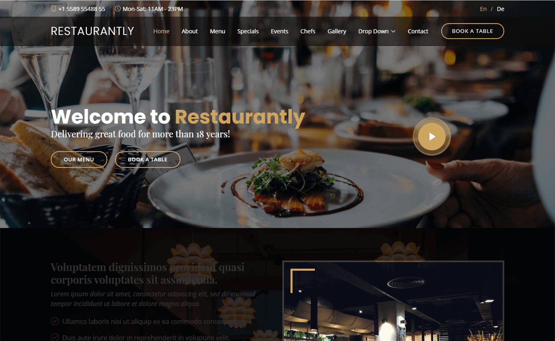 free bootstrap 5 HTML5 responsive restaurant website template