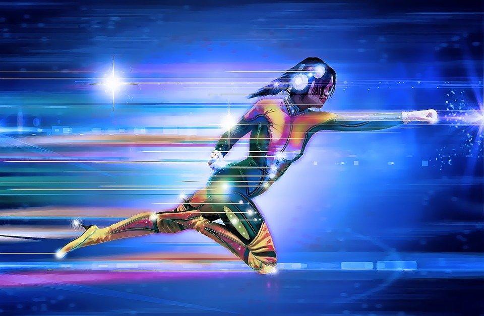 Superhero, Girl, Speed, Runner, Run, Light, Space